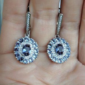 🆕S925- Lolite & White Cubic Zirconia Earrings